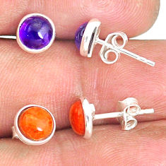 4.67cts natural purple amethyst copper turquoise 925 silver stud earrings r81593