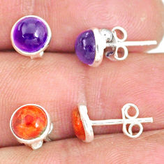5.70cts natural purple amethyst copper turquoise 925 silver stud earrings r81636