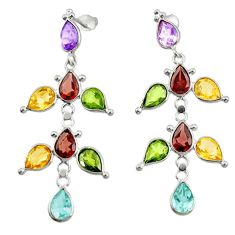 15.89cts natural purple amethyst garnet citrine silver dangle earrings r33115