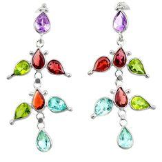 15.89cts natural purple amethyst garnet topaz 925 silver dangle earrings r33112