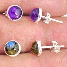 6.05cts natural purple amethyst labradorite 925 silver stud earrings r81616