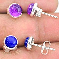 4.48cts natural purple amethyst lapis lazuli 925 silver stud earrings t23862