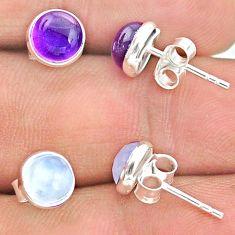 4.46cts natural purple amethyst moonstone 925 silver stud earrings t23893