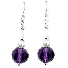 Natural purple amethyst pearl 925 sterling silver dangle earrings c21016