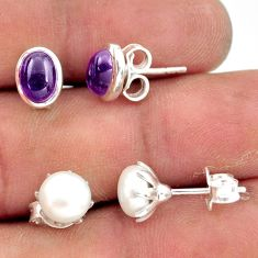 6.04cts natural purple amethyst pearl 925 sterling silver stud earrings r41286