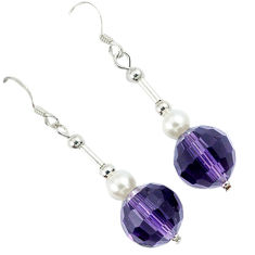 14.73cts natural purple amethyst pearl beads silver dangle earrings c21020