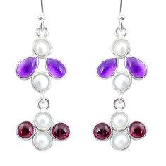 6.58cts natural purple amethyst red garnet 925 silver chandelier earrings t4806