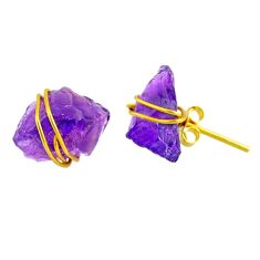 8.32cts natural purple amethyst raw 14k gold handmade stud earrings r79767