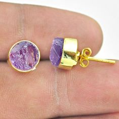 6.70cts natural purple amethyst raw 925 silver 14k gold stud earrings t52346