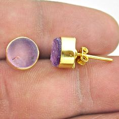 6.64cts natural purple amethyst raw 925 silver 14k gold stud earrings t52352