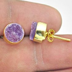 7.11cts natural purple amethyst raw 925 silver 14k gold stud earrings t52353
