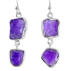16.54cts natural purple amethyst rough 925 silver dangle earrings r55369