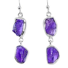 15.10cts natural purple amethyst rough 925 silver dangle earrings r55370