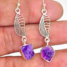 10.33cts natural purple amethyst raw 925 silver deltoid leaf earrings r89890