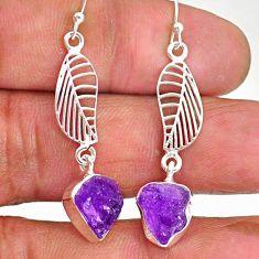 10.30cts natural purple amethyst raw 925 silver deltoid leaf earrings r89895