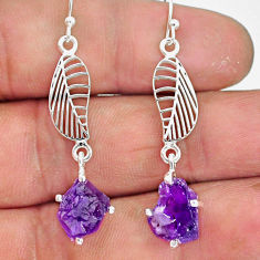7.88cts natural purple amethyst rough 925 silver deltoid leaf earrings r90707