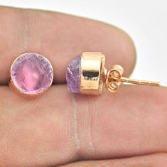 7.13cts natural purple amethyst raw 925 silver rose gold stud earrings t52336