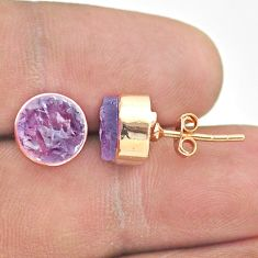 6.16cts natural purple amethyst raw 925 silver rose gold stud earrings t52342
