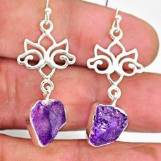 9.71cts natural purple amethyst raw 925 sterling silver dangle earrings r89881
