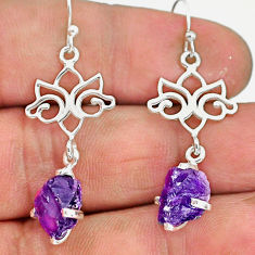 8.05cts natural purple amethyst raw 925 sterling silver dangle earrings r90711