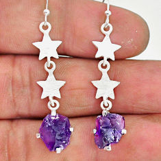7.57cts natural purple amethyst raw 925 sterling silver dangle earrings r90712