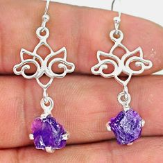7.57cts natural purple amethyst raw 925 sterling silver dangle earrings r90715