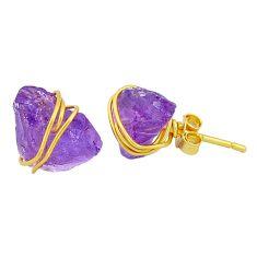 8.87cts natural purple amethyst raw 14k gold handmade earrings jewelry t6529