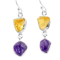 11.55cts natural purple amethyst raw citrine rough 925 silver earrings r93756