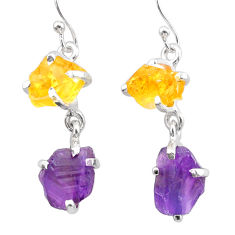 9.20cts natural purple amethyst rough citrine raw 925 silver earrings t25553