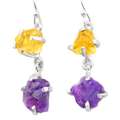 11.55cts natural purple amethyst rough citrine raw 925 silver earrings t25554