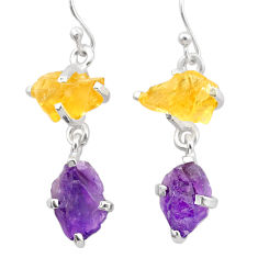 10.08cts natural purple amethyst rough citrine raw 925 silver earrings t25556