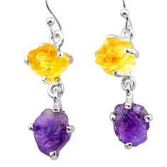 10.65cts natural purple amethyst rough citrine raw 925 silver earrings t25559