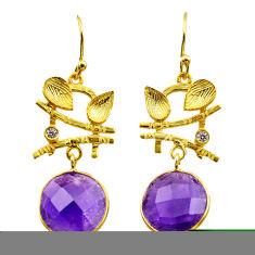 10.37cts natural purple amethyst topaz silver 14k gold dangle earrings t44178