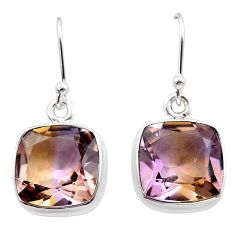14.23cts natural purple ametrine 925 sterling silver dangle earrings t45181