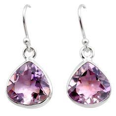 13.10cts natural purple ametrine 925 sterling silver dangle earrings t45186