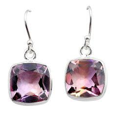 14.68cts natural purple ametrine 925 sterling silver dangle earrings t45188