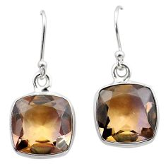 14.57cts natural purple ametrine 925 sterling silver dangle earrings t45191