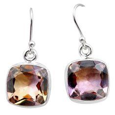 14.68cts natural purple ametrine 925 sterling silver dangle earrings t45192