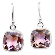 15.22cts natural purple ametrine 925 sterling silver dangle earrings t45196