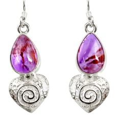 6.41cts natural purple cacoxenite super seven 925 silver dangle earrings d40266