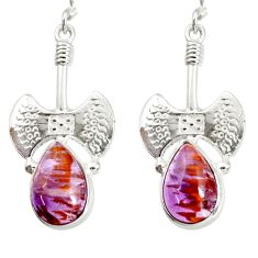 Clearance Sale- 8.27cts natural purple cacoxenite super seven 925 silver dangle earrings d40286