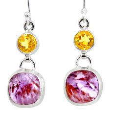 Clearance Sale- 10.59cts natural purple cacoxenite super seven 925 silver dangle earrings d40291