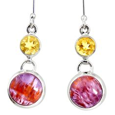 10.02cts natural purple cacoxenite super seven 925 silver dangle earrings d40292
