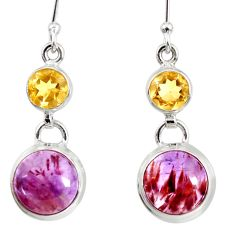 9.65cts natural purple cacoxenite super seven 925 silver dangle earrings d40293