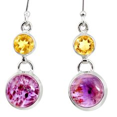 16.28cts natural purple cacoxenite super seven 925 silver dangle earrings d40295