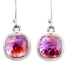 8.79cts natural purple cacoxenite super seven 925 silver dangle earrings d40665