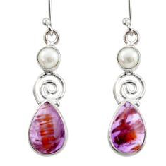 7.97cts natural purple cacoxenite super seven 925 silver dangle earrings d40666