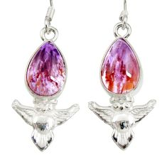 8.05cts natural purple cacoxenite super seven 925 silver owl earrings d40288