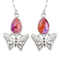 Clearance Sale- 6.31cts natural purple cacoxenite super seven silver butterfly earrings d40279
