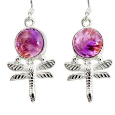 10.24cts natural purple cacoxenite super seven silver dragonfly earrings d40262